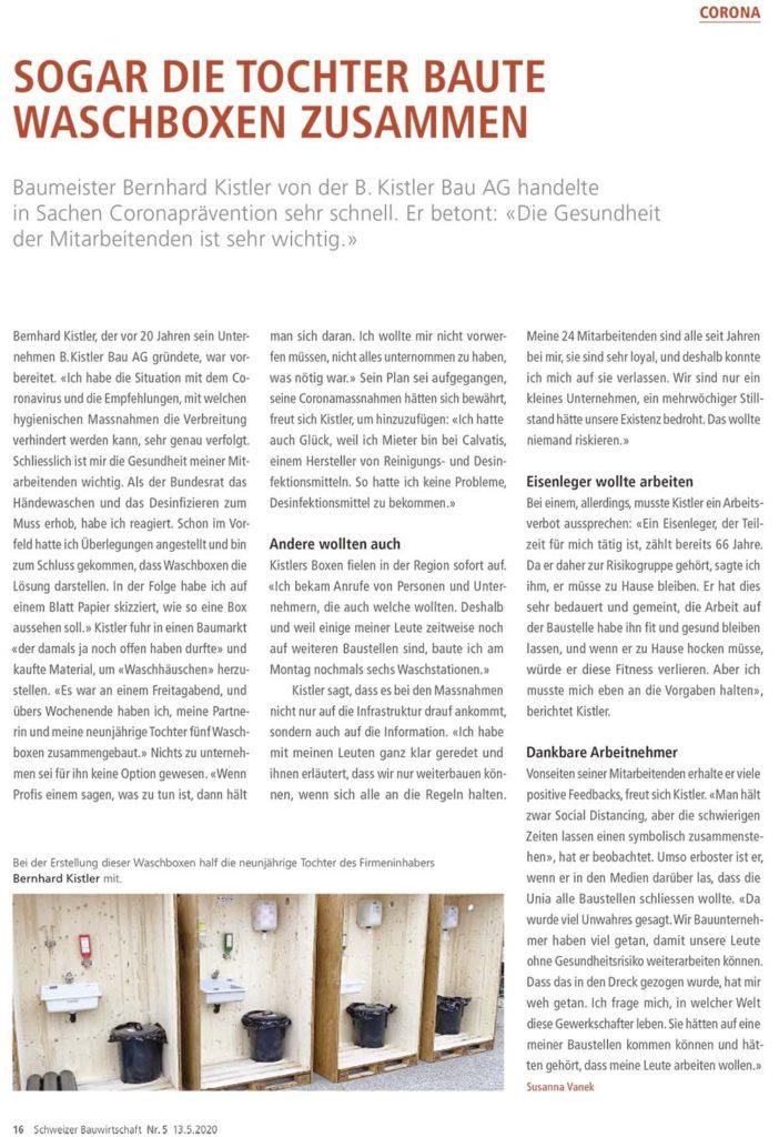 Bauwirtschaft Bericht Kistler